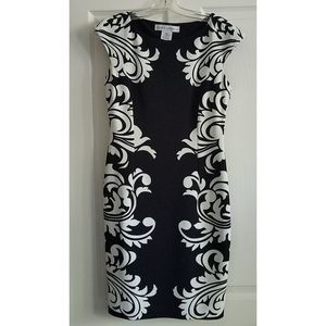 MAGGY LONDON Black White Geometric Sheath Dress 6